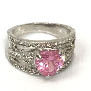 Pink Cubic Zirconia and Silver Statement Ring NWOT